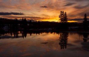 Sunset over Bridge Creek at Skaday Bridge