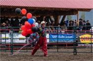 Clown in the rain at Williams Lake Stampede July 2018 - Gloria Melnychuk