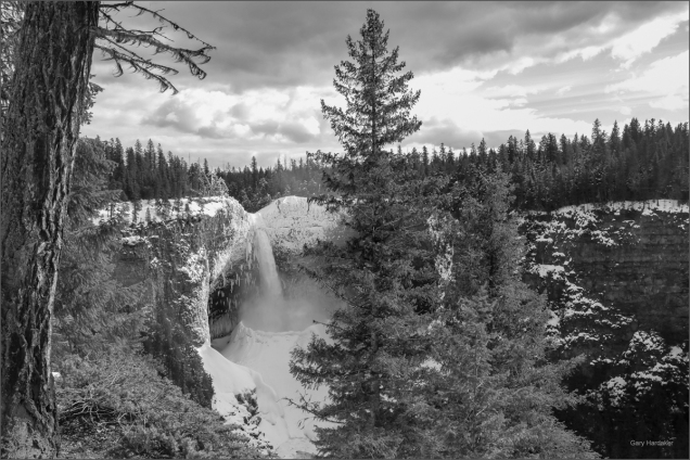 Helmcken Falls overview B&W- Gary Hardaker