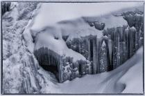 Icicles below the Falls B-W - D Hopp