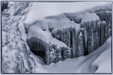 Icicles below the Falls B-W - D Hopp