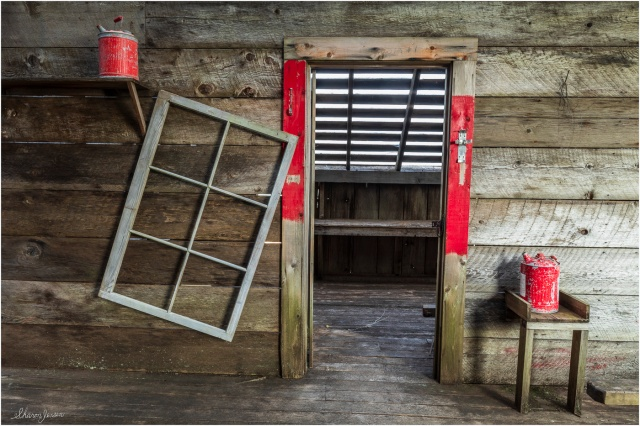 Gas Cans-Window Frame-Tallheo Cannery - © Sharon Jensen