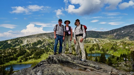 3 photographers at the top or 3 top photographers – Bridge Lake Photo Group, Trophy Mountain, Wells Gray Park