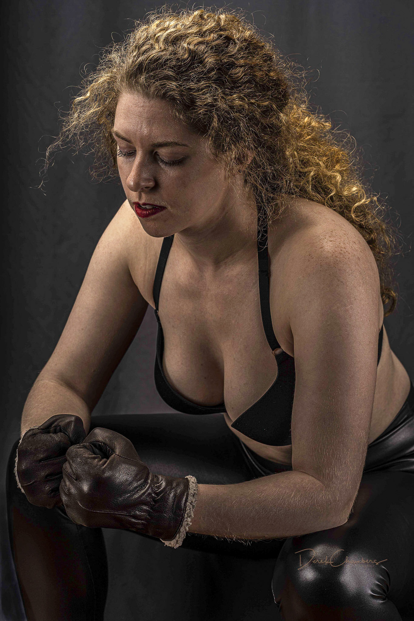 Prepping For The Next Round - (Model: Kendra Cox) - Derek Chambe