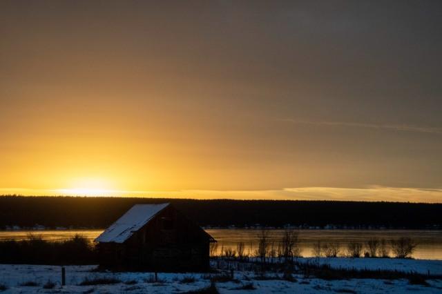 Monika Paterson sunset over LLH cabin